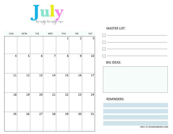 July 2021 calendar planner template