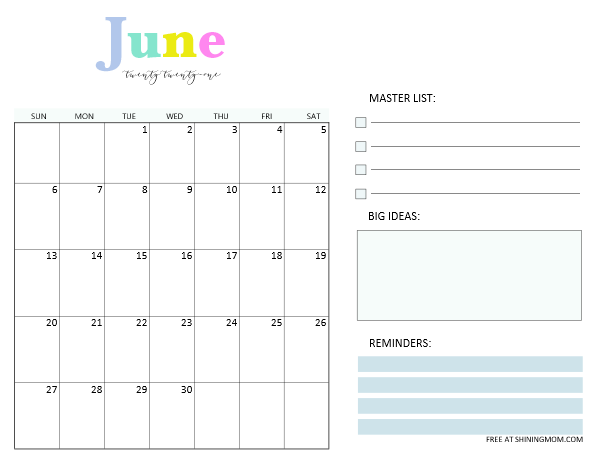 June 2021 calendar planner