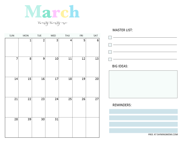 March 2021 calendar planner