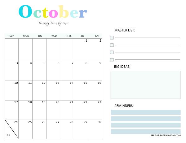 October 2021 monthly calendar template