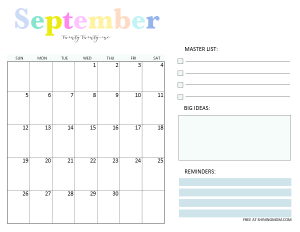 September 2021 monthly planner template