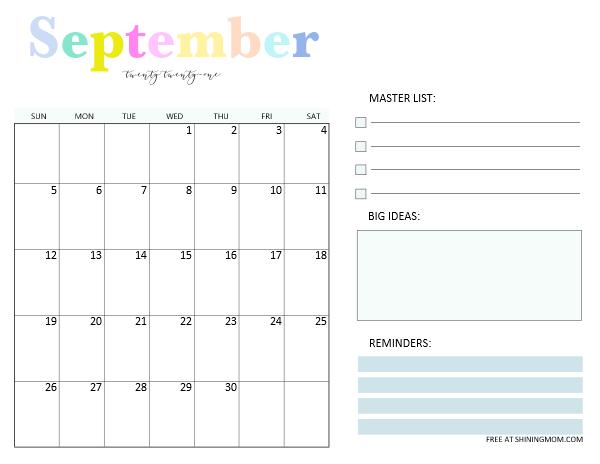 September 2021 monthly planner template