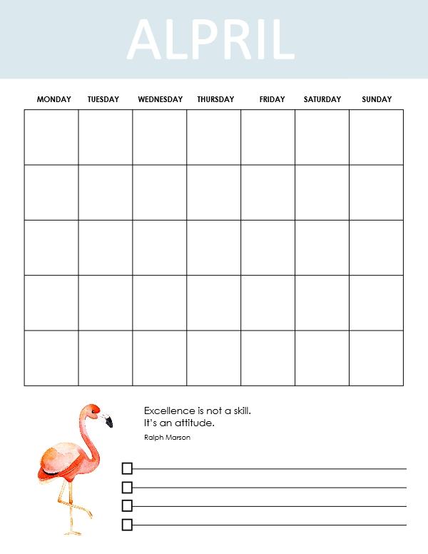 April school calendar