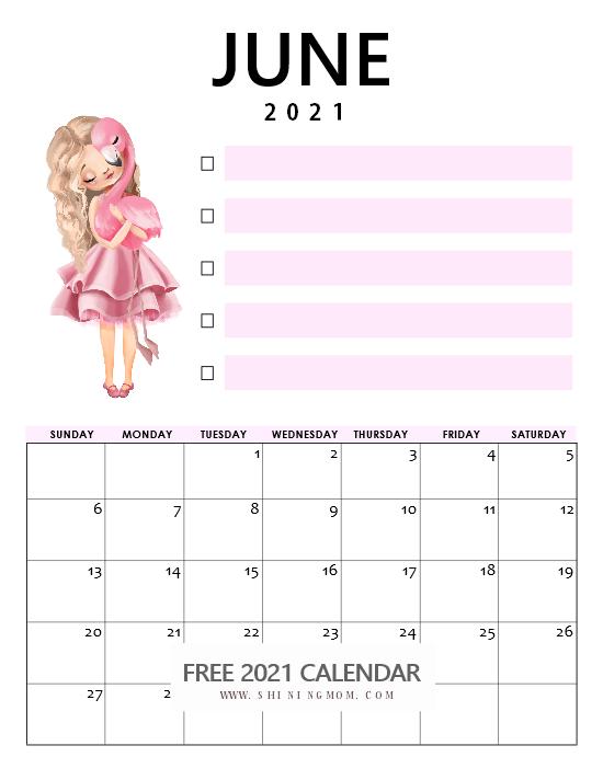 beautiful June 2021 calendar