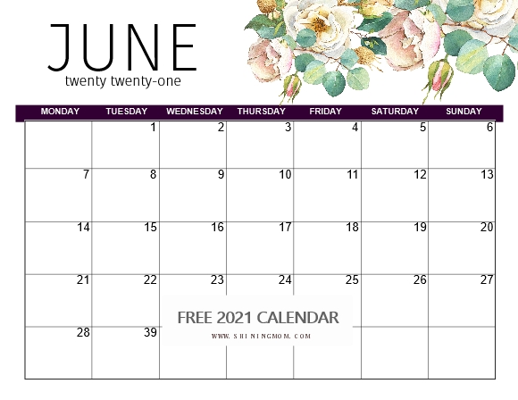 June 2021 monthly planner template