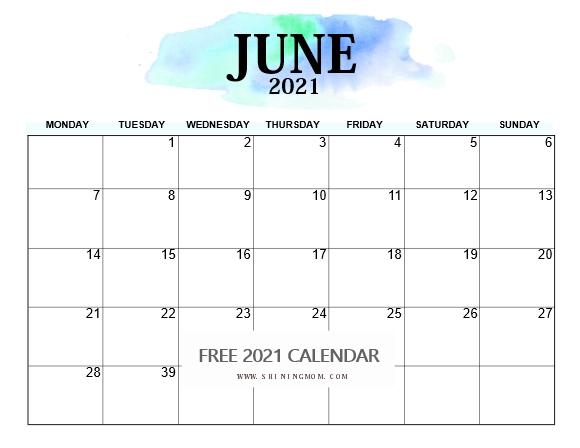 June 2021 calendar Monday Start