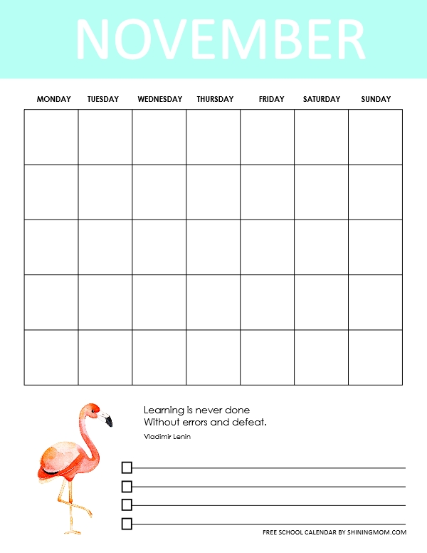 October school calendar