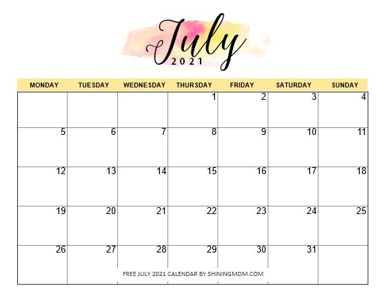 Monday Start July calendar 2021