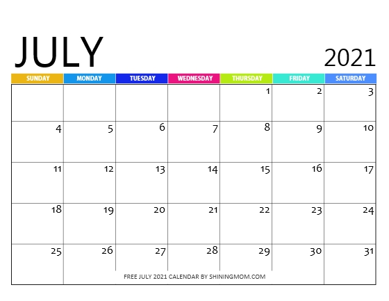 July 2021 calendar printables