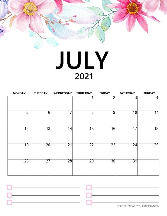 July calendar 2021 free printable
