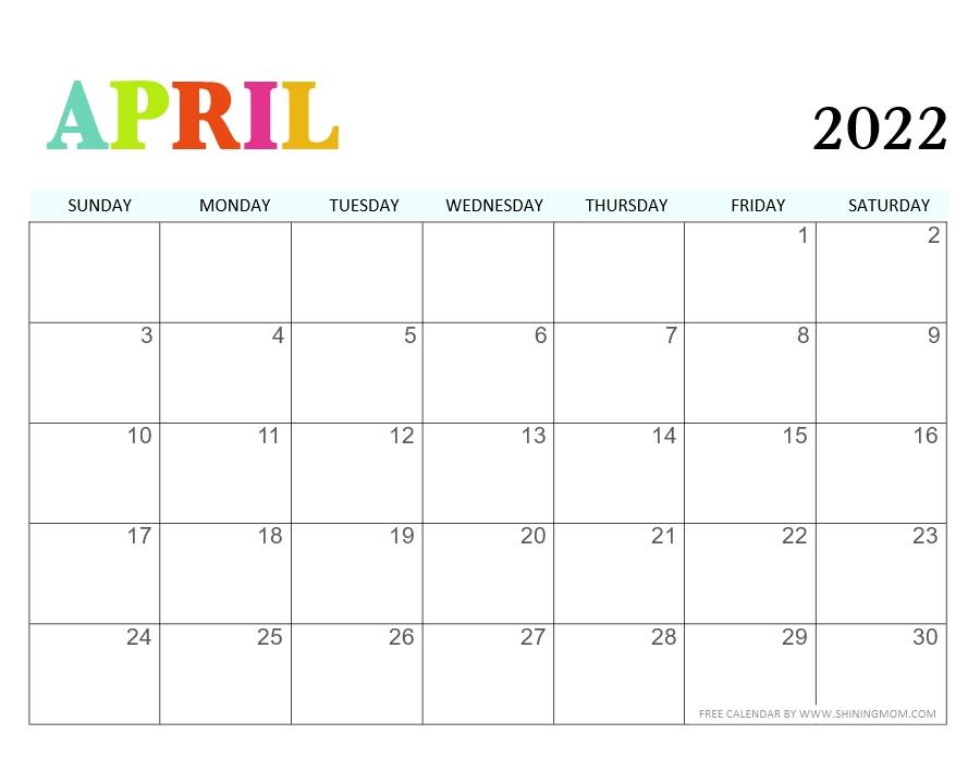 April calendar 2022 cute design