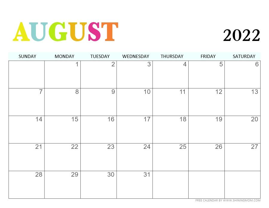 August 2022 PDF free printable calendar