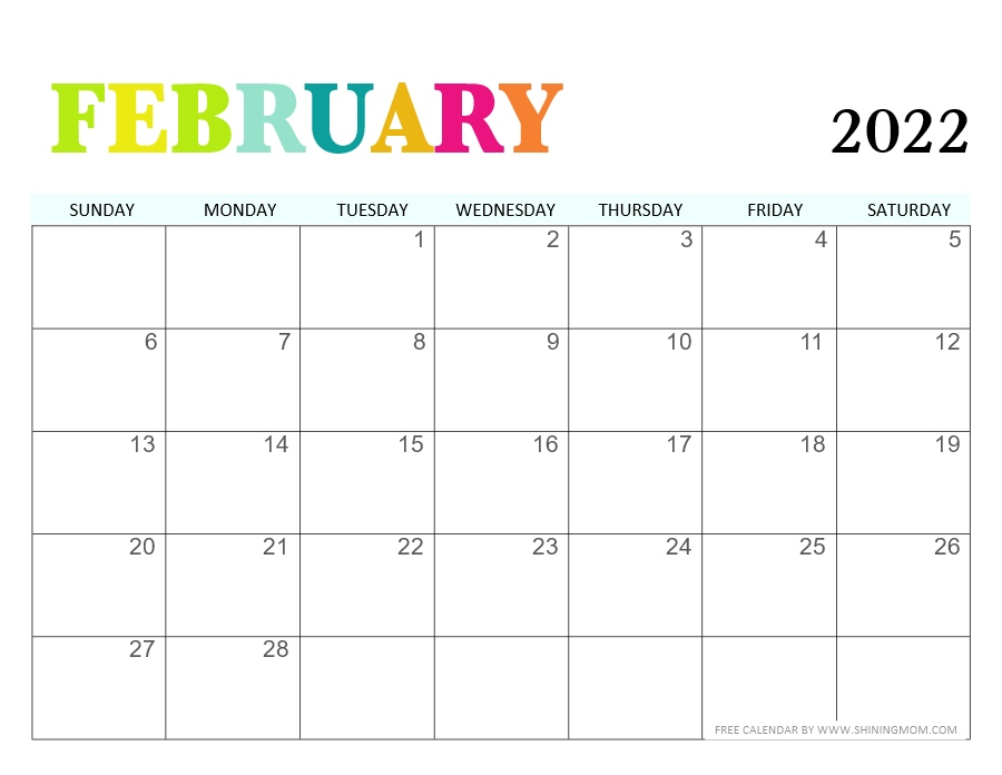 February 2020 calendar with colors
