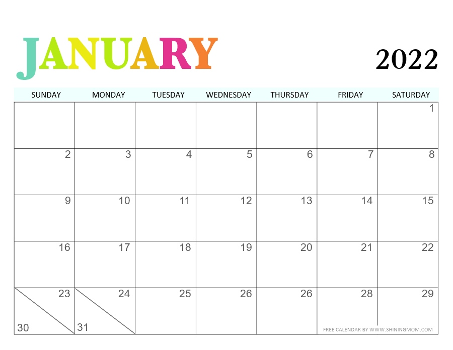 January 2022 calendar in PDF