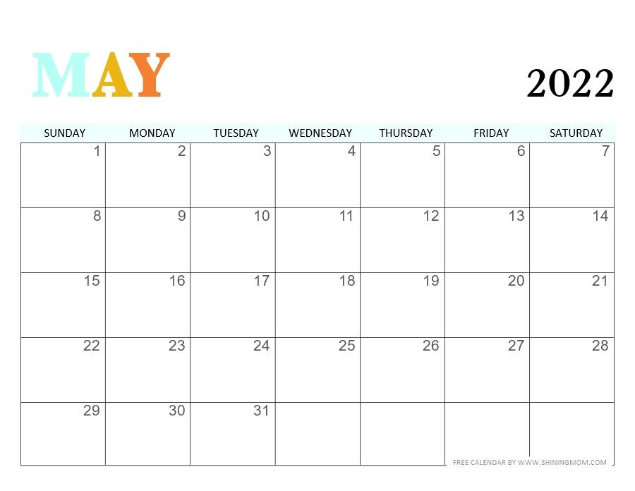 downloadable May 2022 calendar PDF
