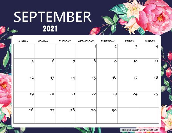 September 2021 calendar to print