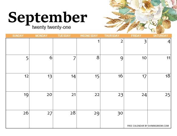 free September 2021 calendar template
