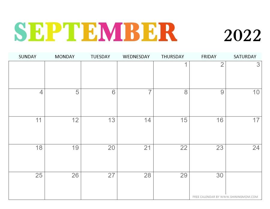 September 2022 calendar free printable