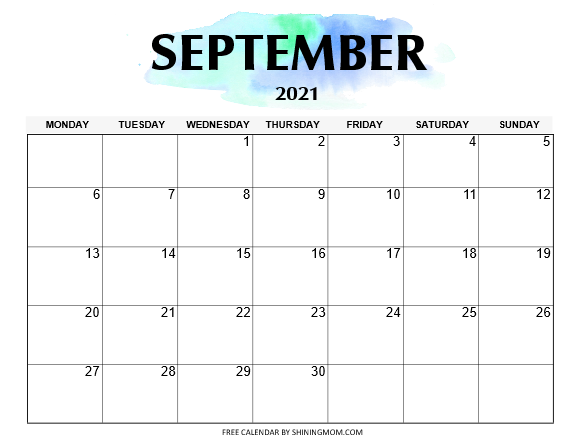 September calendar printable 2021 Monday