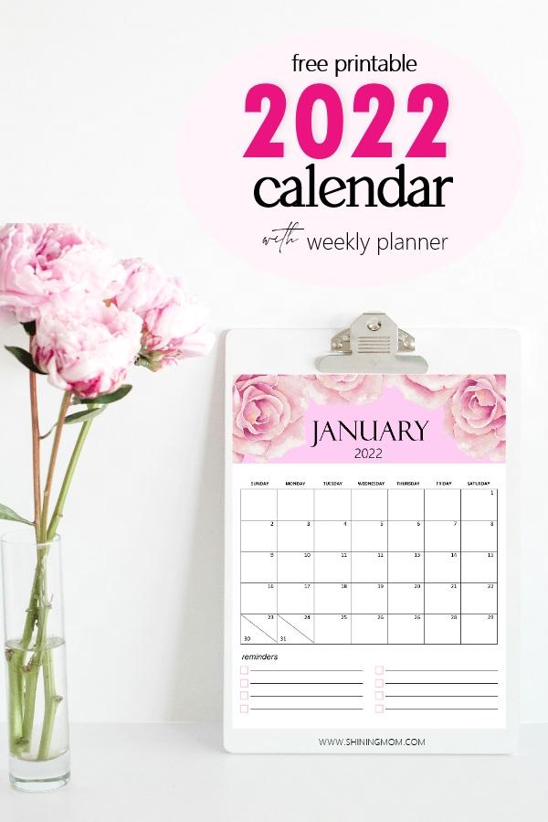 calendar 2022 printable monthly