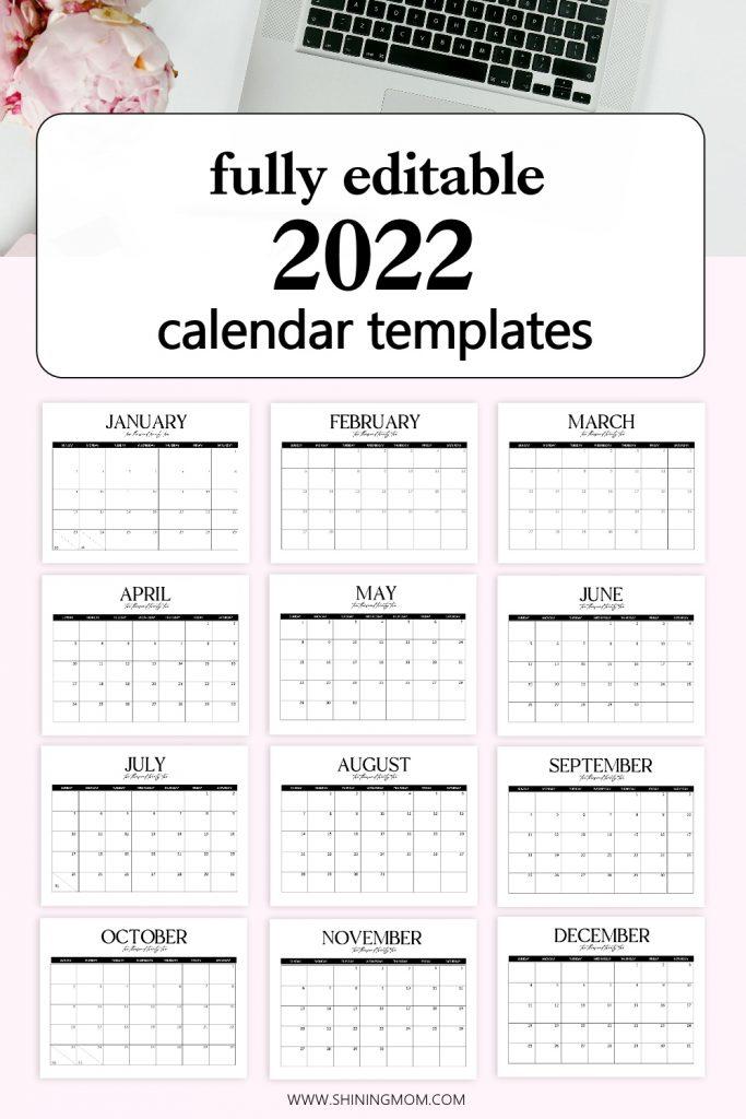 editable 2022 calendar in Word