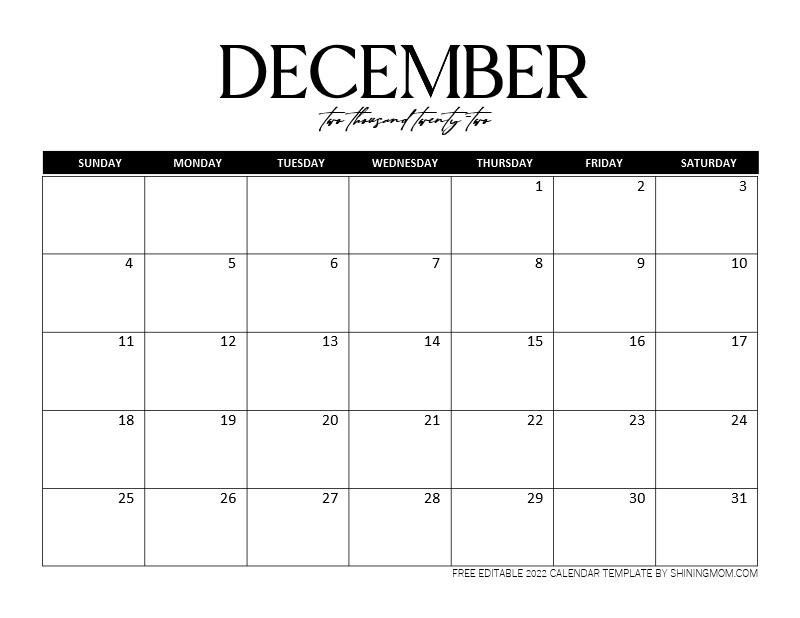 December 2022 calendar template
