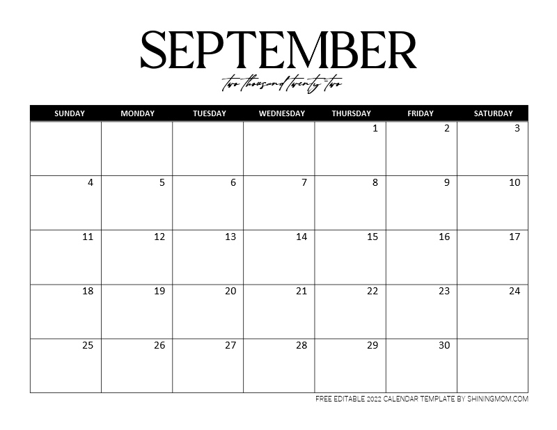 Editable September 2022 calendar