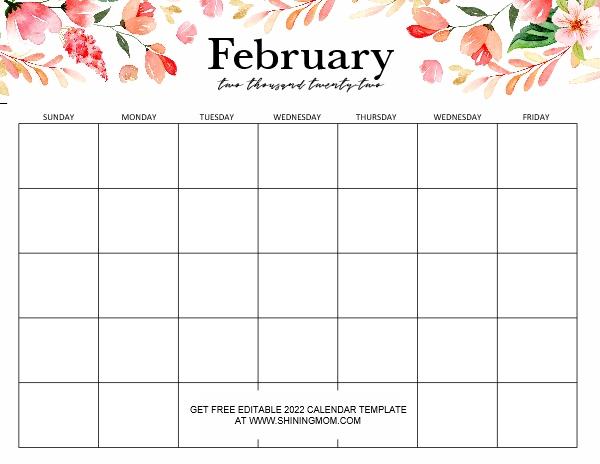 editable 2022 February calendar