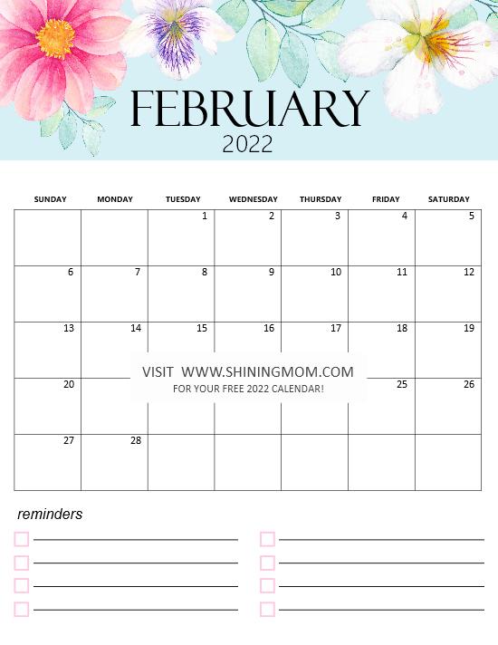 February calendar 2022 printable monthly