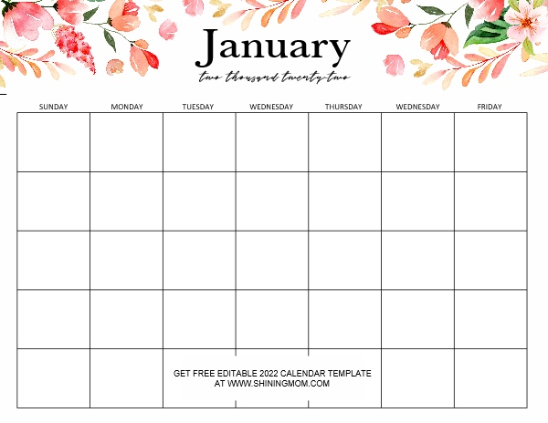 January 2022 editable calendar template