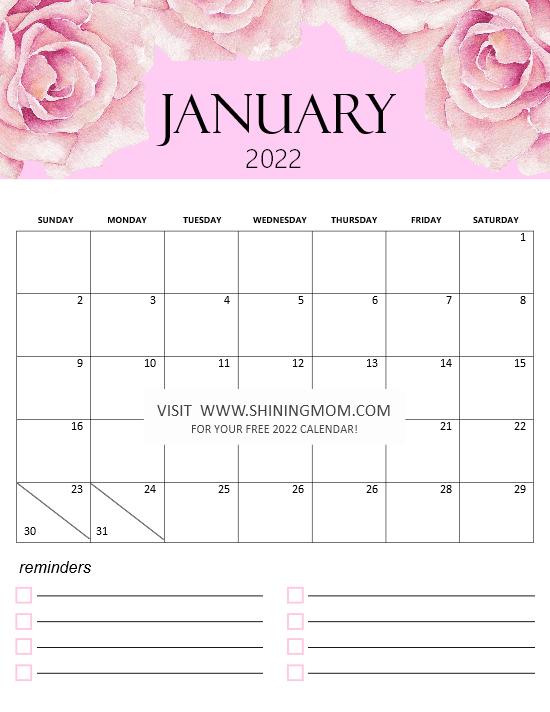 January calendar 2022 printable