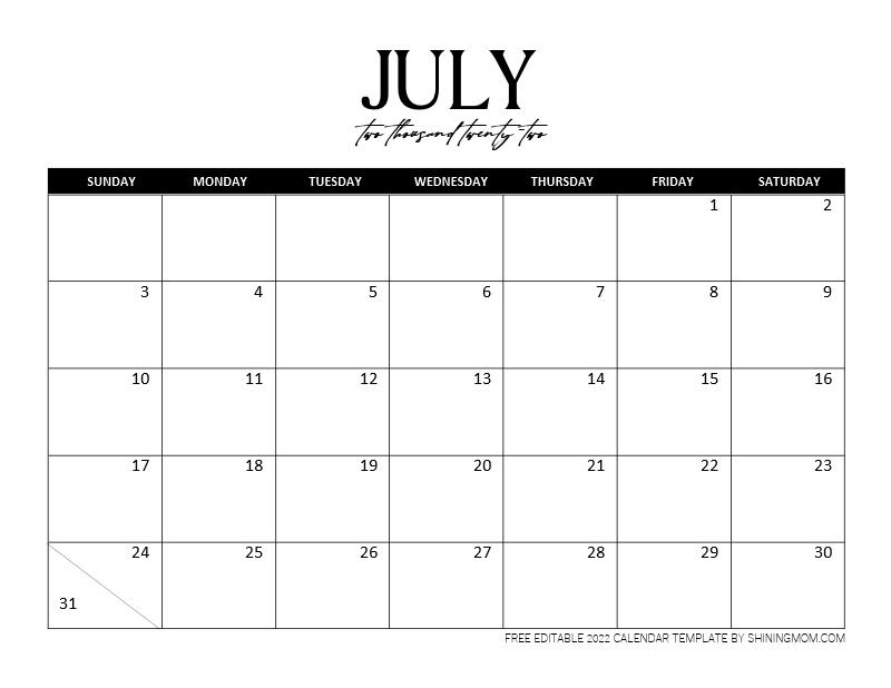 fillable July 2022 calendar template