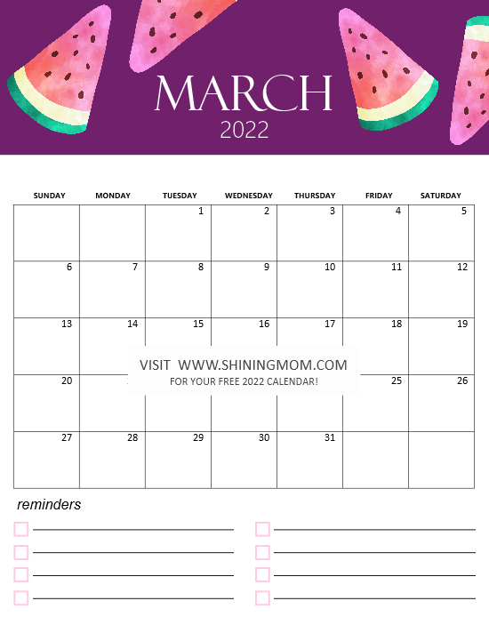 cute March 2022 calendar monthly
