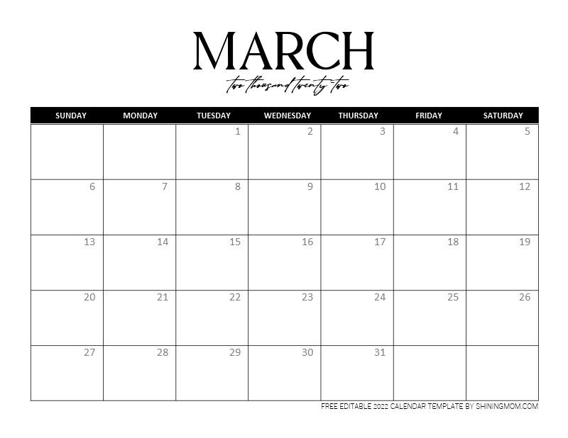 March 2022 editable calendar word