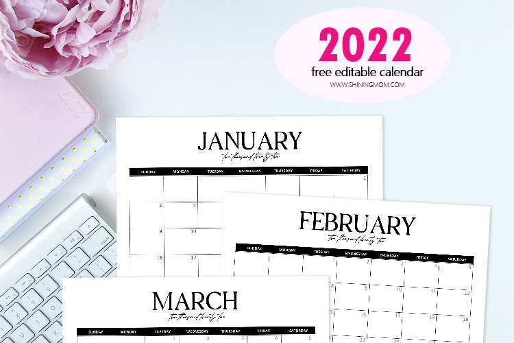 Free Fully Editable 2022 Monthly Calendar Template in Word