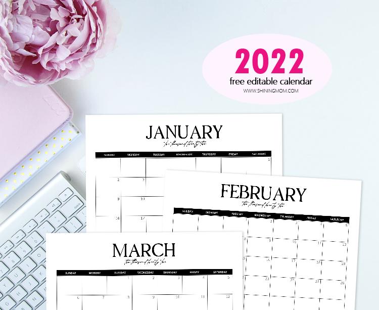 2022 editable calendar