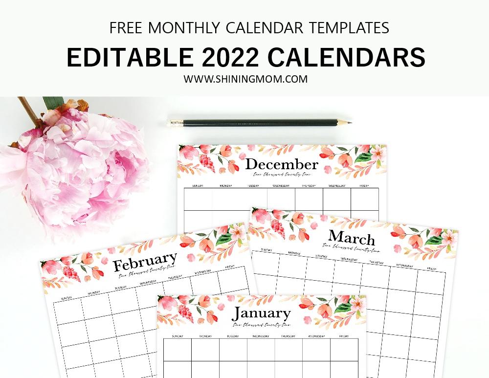 2022 calendar editable