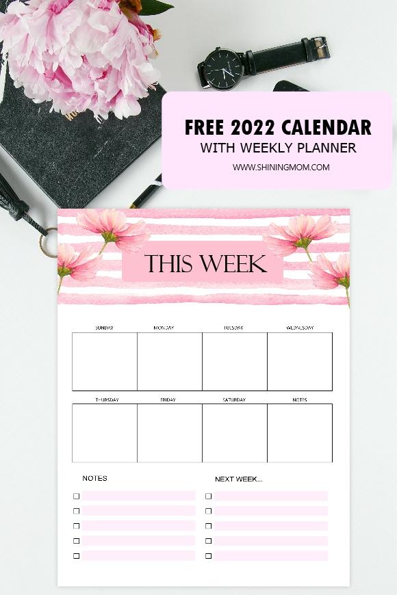 free 2022 weekly planner