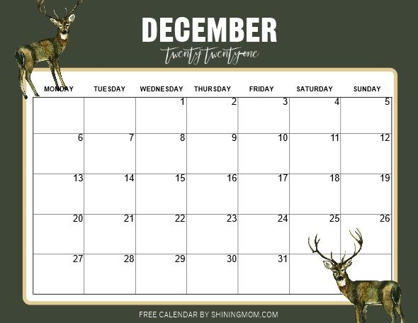 December calendar 2021 Monday start