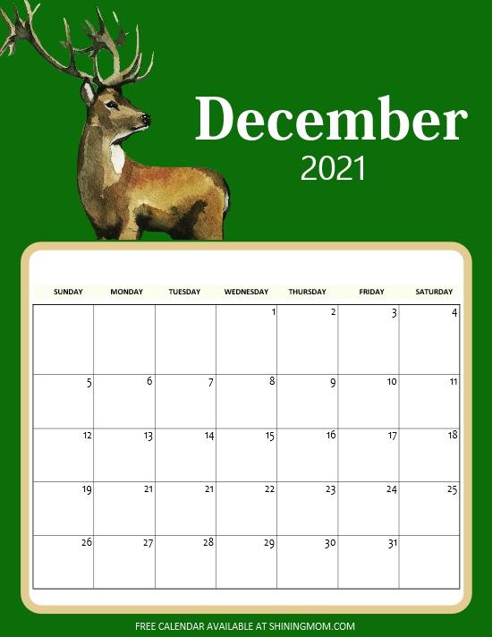 December 2021 calendar printable pdf