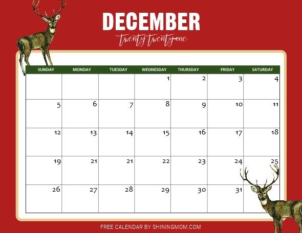 cute December calendar 2021 printable PDF
