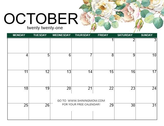 October calendar 2021 Monday start