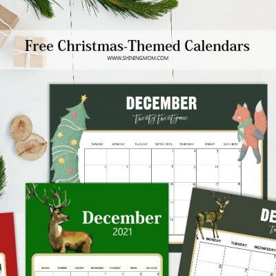 Free Printable December 2021 Calendar: 12 Christmas Themed Designs!