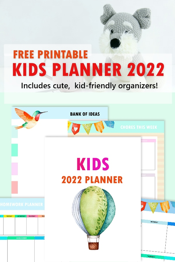 kids planner 2022 free printable