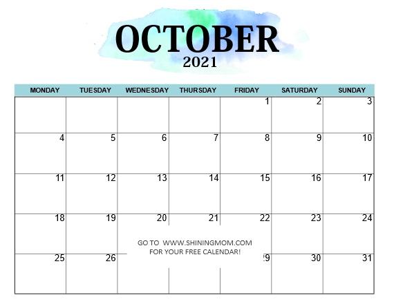 October 2021 calendar Monday start