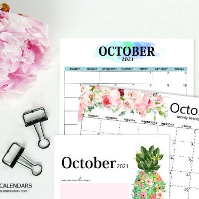 Free Printable October 2021 Calendar: 12 Awesome Designs!