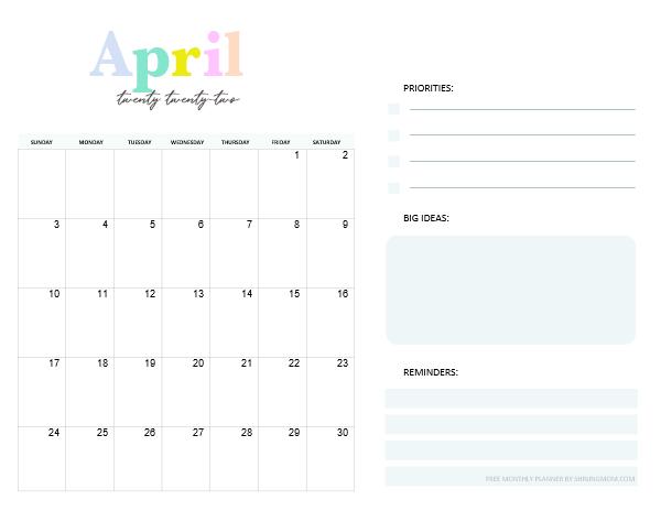 April Calendar Monthly