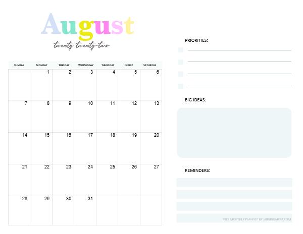 August Calendar Planner 2022