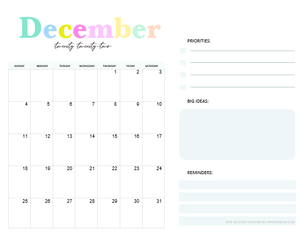 December 2022 Monthly Planner Template