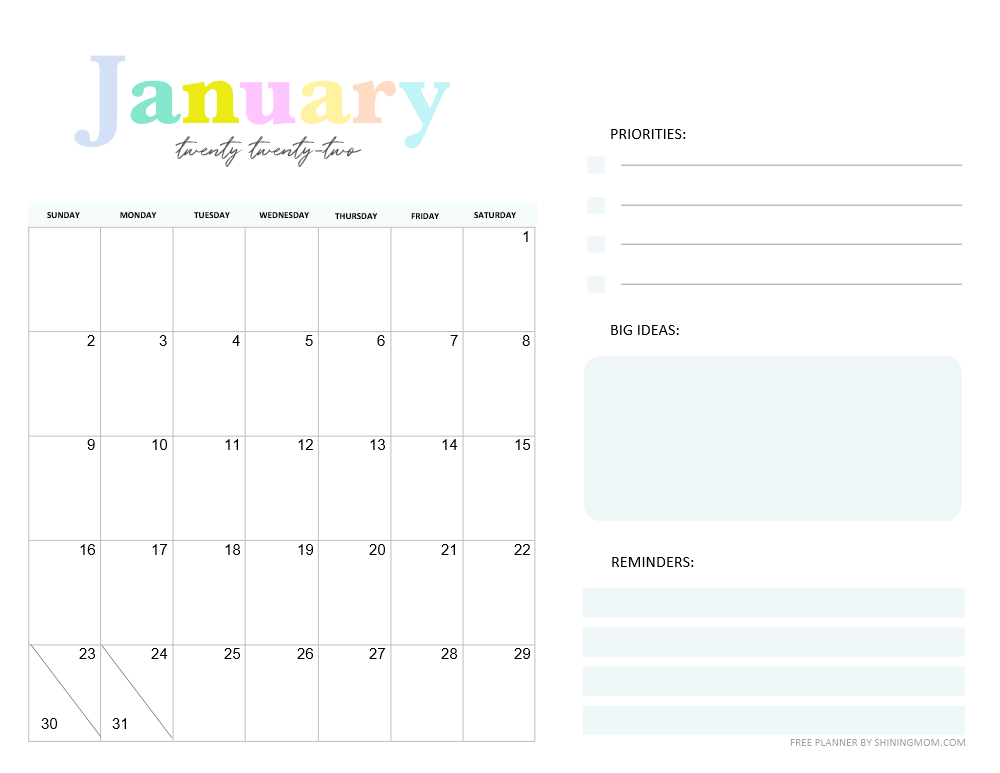2022 January monthly planner template